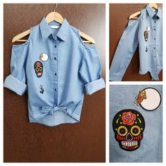 Last few pieces remaining: Patched - Denim C..., visit http://ftfy.bargains/products/patched-denim-cold-shoulder-shirt-with-front-knot-monkey-thought-skull?utm_campaign=social_autopilot&utm_source=pin&utm_medium=pin  #amazing #affordable #fashion #stylish
