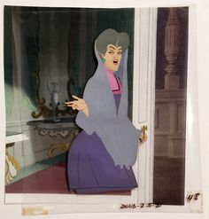 """Animation Collection: Production cel of Lady Tremaine (Stepmother) from """"Cinderella,"""" 1950"""