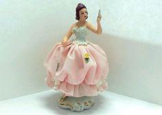 """Vintage Germany DRESDEN Lace Lady Figurine Porcelain Dancer - 5"""" #Dresden"""