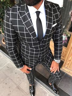 Mens Suits, Mens Fashion Suits, Groom And Groomsmen Outfits, Checkered Suit, Outfits Hombre, Designer Suits For Men, Bespoke Suit, Formal Suits, Tuxedo For Men