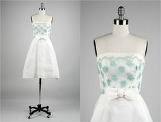 Vintage 1950s Dress  White Organza  Blue Lace  by princessamnesia, $200.00