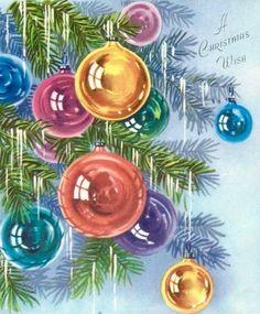 A Christmas Wish. Vintage Christmas Ornaments. Retro Christmas Card. Christmas Tree with Tinsel.