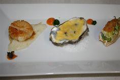 Feestelijk trio ( Kingkrab – oester – sint-jacobsvrucht) (Voorgerechten)