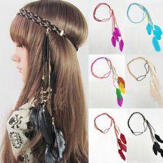 Boho Style Women Girls Feather Leaf Tassel Headband Hippie Handmade Headdress #Unbranded