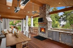 outdoor entertaining area of Seattle house. patio heaters--must have