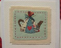 Hand-stitched card designed and made by Helen Drewett TEAPOT more in my shop! | eBay