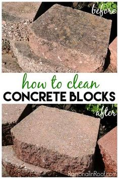 How to Clean Concrete Blocks Is your retaining wall or landscape blocks looking a little rough? Here's how to clean concrete blocks with just three little things! Deep Cleaning Tips, House Cleaning Tips, Cleaning Solutions, Spring Cleaning, Cleaning Hacks, Cleaning Products, Clean Concrete, Concrete Patio, Homemade Toilet Cleaner