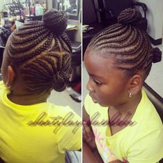 Little Girls Cornrows And Buns Updo
