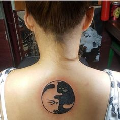 Yin Yang Kitty Tattoo. You need both opposites in order to find balance.  #yinyang #cattattoo #catart --- // We just love this cat tattoo @iamsheilasnow
