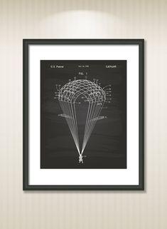Parachute Design 1998 Patent Art Illustration - Drawing - Printable INSTANT DOWNLOAD - Get 5 colors background