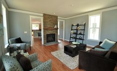 Spacious living room in Savvy blue and brown at Midwood's Tippah Park