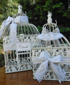 Lace Wedding Birdcage Card Holder Set / Wishing Well by ThoseDays