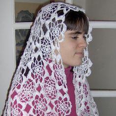 Carmen Motif Rectangular Crocheted Catholic Chapel Veil in White Chapel Veil, Thread Crochet, Crotchet, Catholic, Handmade, Beauty, Hats, Veils, Saddle Pads