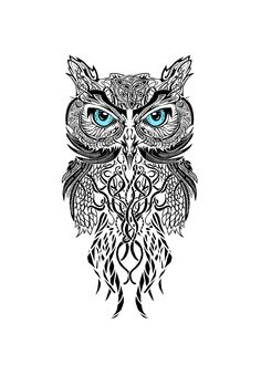 black and white owl this would be awesome as a tattoo between the shoulder…