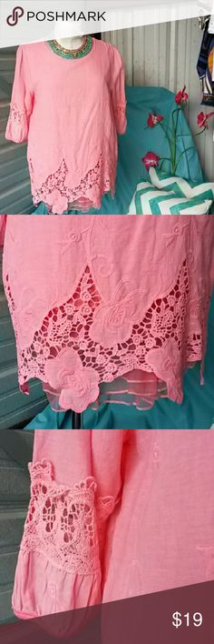 Lovely peach pastel top Sweet lace at neckline and at hem (layered lace ruffles) short sleeved. Item 55. Sale price with bundle only. Yizhichen  Tops Blouses