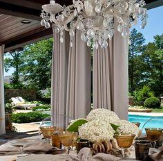 love the outside chandelier