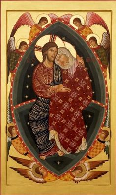 Assumption (Dormition) of Mary icon by the Master of Cesi, 1308. It is part of a triptych of thec Stella Altarpiece.