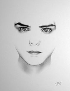Gerard Way My Chemical Romance Minimalism Pencil Drawing Fine Art Portrait  PRINT Hand Signed