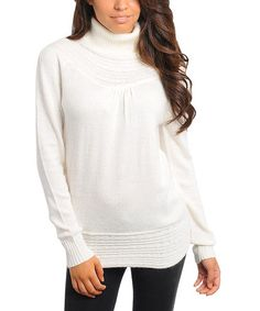 Take a look at this Ivory Knit Turtleneck Sweater by Closet Essentials From $9.99 on @zulily today! A must have sweater for the winter season!