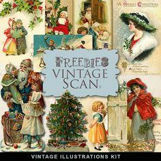 Far Far Hill: Freebies Kit of Vintage Xmas Illustrations and Pos...