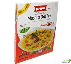 Priya Masala Dal Fry 300g Ready to eat food just microwave on high for 1 to 2 minutes and serve Serving per package:3 A perfect accompaniment for Rice, Roti or Naan with  rice taste-flavour senation all its own. Ingredients: Water, Split red gram, Tomatoes, Onions, Split green gram, Refined rice bran oil, Salt, Green chilli, Clarified butter, Garlic, Red chilli, Ginger, Coriander leaves, Black pepper, Cinnamon, Bay leaf, Cardamom, Cumin, Turmeric and Clove Product of India