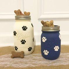 Paw Print Mason Jar Treat Holder for Pets Treat Jar by HomespunNC