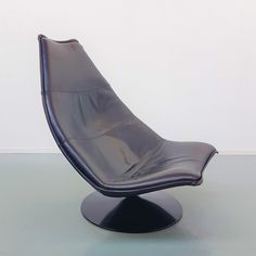Black Leather F585 Lounge chair by Geoffrey Harcourt for Artifort, 1970s