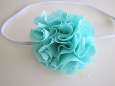 Scrunch Fabric Flower Pom Pom Headband TUTORIAL - craft - Little Miss Momma