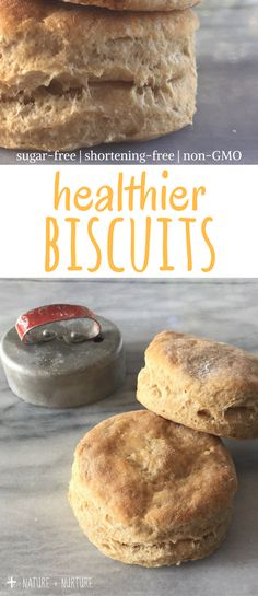 Homemade biscuits that are fluffy, soft, and buttery. A healthier version of buttermilk biscuits that are non-GMO, sugar free, and shortening free but does not sacrifice flavor!