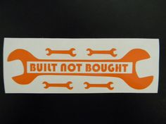 Built Not Bought Wrench Jeep Vinyl Decal Sticker by DecalsForU, $2.75
