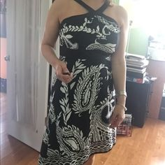FinalBlack & white dress handkerchief hemline. halter dress. Excellent condition. Buy it now....Ready to ship! White House Black Market Dresses Midi