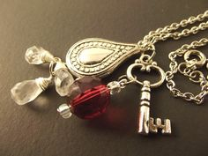 Cluster Chain Necklace - Skeleton Key Charm with Red and Clear Beads. $14.00, via Etsy.