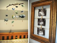 Rustic baby room decor, nursery, blue, boy, owls, fish mobile, shabby, ultrasound pictures, open frame, DIY.