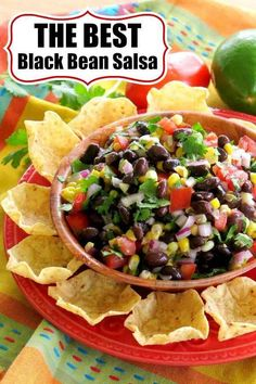 Black Bean Salsa with Corn, tomatoes, onions, cilantro in a tasty red wine vinegar sauce that pulls it together! Perfect dip for chips or in Mexican dishes and fish tacos. #cowboycaviar #blackbeansalsa