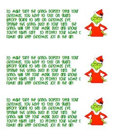 printable grinch dust labels | What was your favorite thing you do/did with your class during the ...