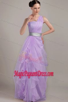Lavender Sheath One Shoulder Floor-length Girl Pageant Dress with Ruffles in Boone