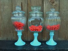 Great idea for dessert/candy bar - and then could reuse at home. 3 PEDESTAL APOTHECARY JARS vintage CanDy BaR by VintageEvents, $52.00