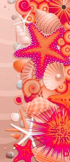 Summer Wallpaper, Beach Wallpaper, New Wallpaper, Iphone Wallpaper, Attractive Wallpapers, Days And Months, Flower Backgrounds, Sea Shells, Digital Art