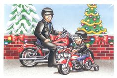 Harley Davidson, Father and Son Have Matching Harleys, Pack of 10 with envelopes Vintage Greeting Cards, Birthday Greeting Cards, Birthday Greetings, Harley Davidson 1200, Harley Davidson Gifts, Dad Crafts, Harley Davison, Father And Son, Christmas Cards
