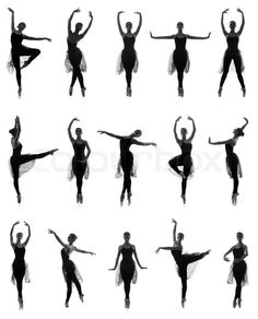 Set of different ballet poses. Black and white traces isolated on white, stock photo