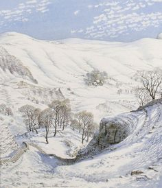 Stanley Roy Badmin (England, 1906-1989) Snowy Morning, Mam Tor, Derbyshire Watercolour