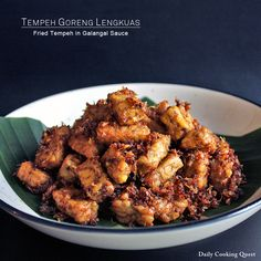 Deep fried plain tempeh is delicious, but when it is cooked this way, it is simply out of this world. All the spices will be absorbed by the tempeh, and the deep fried ground spice will become the most delicious crunchy spice flakes ever. ♥ Tempeh Goreng Lengkuas – Fried …