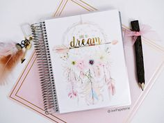 "Planner COVER for Happy Planner, Erin Condren, Recollections, Levenger: Watercolor Dreamcatcher Gold Foiled ""Dare To Dream"", 10-mil laminate"