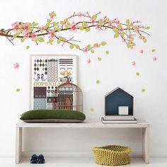 Adesivo de Parede Ramo de Sakura Grudado Colorido (45x150cm)