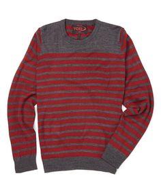 Look at this #zulilyfind! Dark Red & Charcoal Stripe Crew Neck Sweater #zulilyfinds
