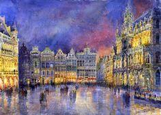 "Yuriy Shevchuk; Watercolor, 2011, Painting ""Belgium Brussel Grand Place Grote Markt"""