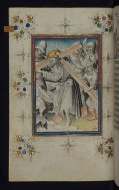 Illuminated Manuscript Book of Hours Carrying the Cross Walters Art Museum Ms. W.165 fol. 20v by Walters Art Museum Illuminated Manuscripts