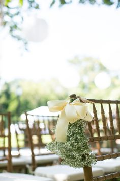 Photography By / jsrphotography.com, Floral Design By / tbirdwatermill.com- I'll be using green and white ribbons to decorate the chairs with placeholder attached to ribbon