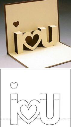 Schema per un biglietto pop-up romantico <3