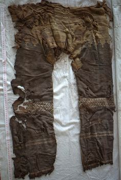 Love the pattern design on these - Wool trousers, Yanghai, China, 10th century B.C.